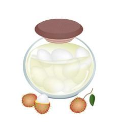 A Jar of Delicious Rambutans In Syrup vector