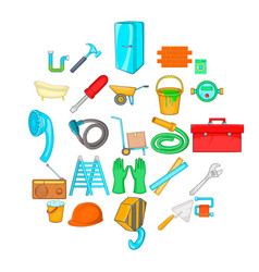 Apartment repair icons set cartoon style vector