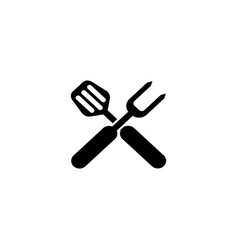 bbq grill tools crossed barbecue fork with vector image