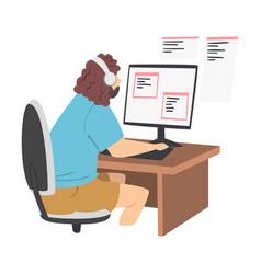 Bearded man as software developer or programmer vector