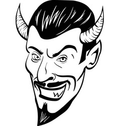 black and white devil head vector image