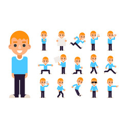 Boy in different poses and actions teen characters vector