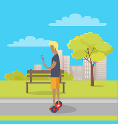 Boy riding on two wheeled mini segway in park vector
