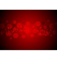 Bright glowing red hexagons tech background vector image
