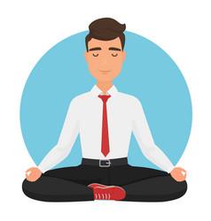 businessman sitting in yoga lotus pose vector image