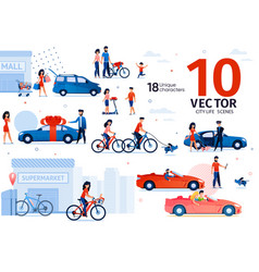 Car and ecological transport scenes set vector