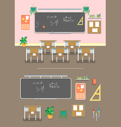 cartoon classroom design interior and element set vector image