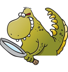 Cartoon Dinosaur Holding a Magnifying Glass vector image