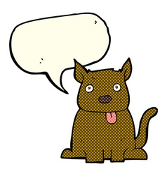 cartoon dog sticking out tongue with speech bubble vector image