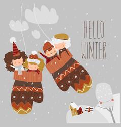 cartoon happy children sitting in mittens hello vector image