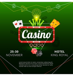 Casino invitation poster vector image