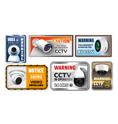 caution protect cctv nameplates posters set vector image