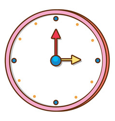 Clock with pink frame on white background vector
