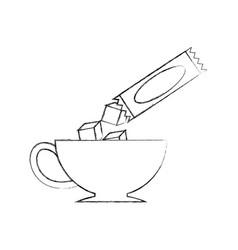 Coffee cup with sugar bag vector