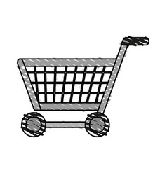 Color crayon stripe cartoon shopping cart with vector