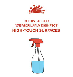 Coronavirus poster with text in this facility vector