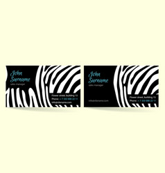 creative business card zebra pattern texture vector image
