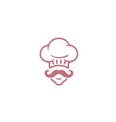Creative chef head moustache logo vector