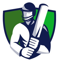 Cricket player shield vector