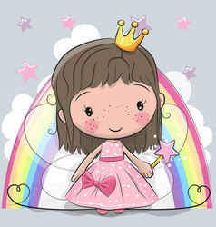 Cute cartoon fairy tale princess fairy vector