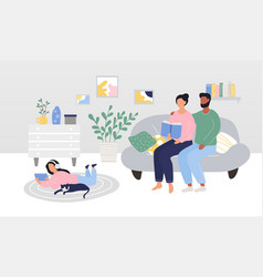 Cute family with child and a cat spending time vector