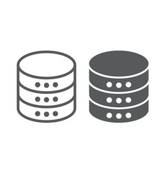 Database line and glyph icon data vector