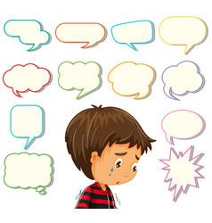 depress boy with different speech balloon vector image