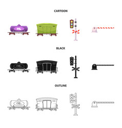 design of train and station sign vector image