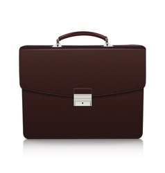 Detailed dark brown briefcase with leather texture vector