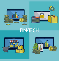 Financial technology square frames vector
