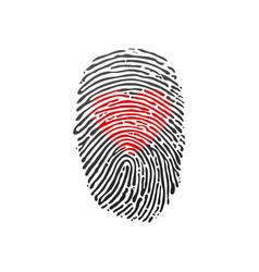 Fingerprint scan set with love heart symbol vector