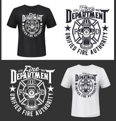 fire firefighters department t-shirt print mockup vector image