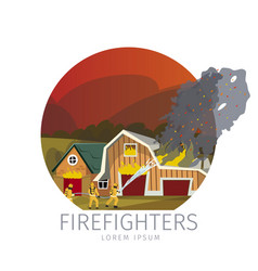 firefighters eliminating farm vector image