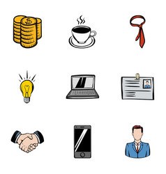 Firm icons set cartoon style vector