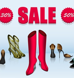Five different shoes in sale vector image