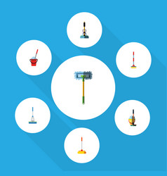 Flat icon cleaner set of mop cleaning bucket and vector