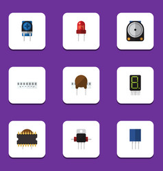 Flat icon device set of memory receptacle vector