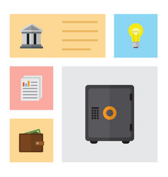 Flat icon finance set of strongbox billfold bank vector
