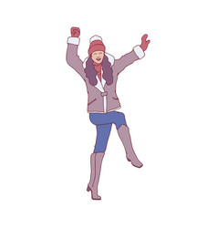 flat sketch woman winter clothing fun vector image
