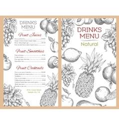 Fruit drinks juice menu of sketch fruits vector