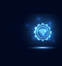 Futuristic blue wireless connection abstract vector