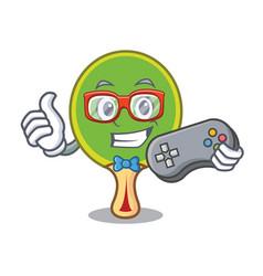 Gamer ping pong racket mascot cartoon vector