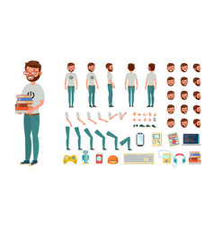 Geek man animated character creation set vector
