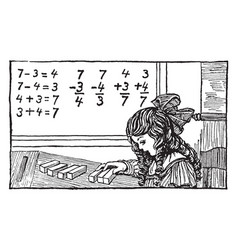 girl counting blocks math problems or learning vector image