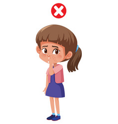 Girl touching face risk to have virus vector