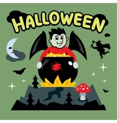 Halloween Vampire and cauldron Cartoon vector image