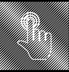 Hand click on button icon hole in moire vector
