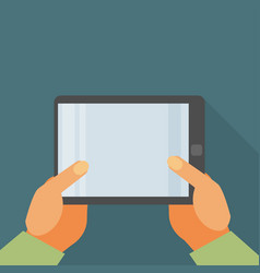 Hand holding tablet pc with blank screen - flat vector