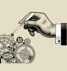 hand with tweezers and gear wheels of clockwork vector image