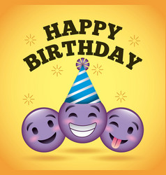 Happy birthday card smile emoji purple faces vector